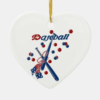 Ornement Cœur En Céramique Bannière étoilée vintage de base-ball