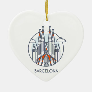 Ornement Cœur En Céramique Barcelone