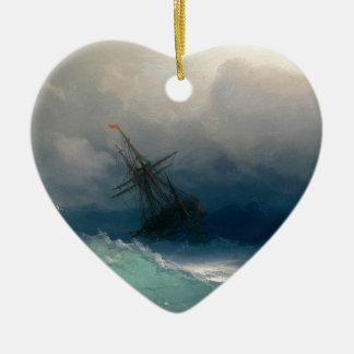 Ornement Cœur En Céramique Bateau sur les mers orageuses, Ivan Aivazovsky -