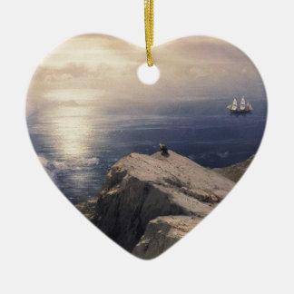 Ornement Cœur En Céramique Bateau vintage de l'eau d'Ivan Aivazovsky peignant