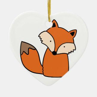 Ornement Cœur En Céramique Beau renard rouge