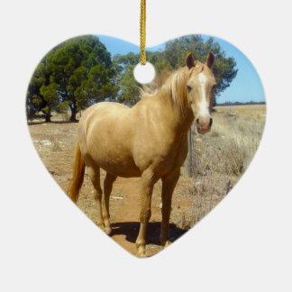 Ornement Cœur En Céramique Beauté de cheval de palomino,