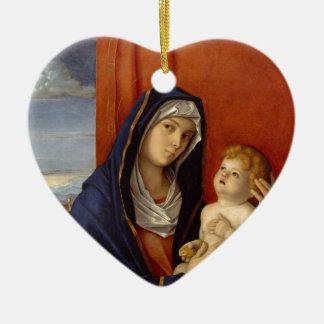 Ornement Cœur En Céramique Bébé Jésus tenant la poire d'or