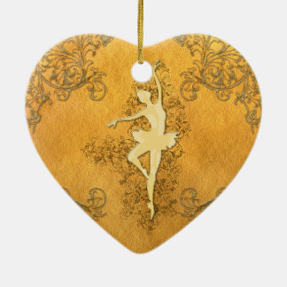 Ornement Cœur En Céramique Belle ballerine d'or