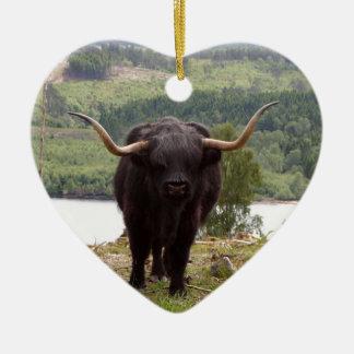 Ornement Cœur En Céramique Bétail des montagnes noirs, Ecosse