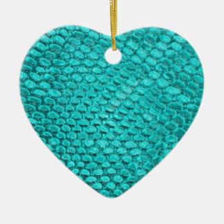 Ornement Cœur En Céramique Bleu de turquoise de reptile