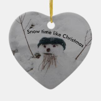 Ornement Cœur En Céramique Bonhomme de neige de temps de neige