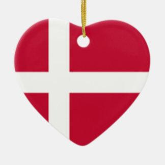 Ornement Cœur En Céramique Bonne copie de drapeau du Danemark de couleur