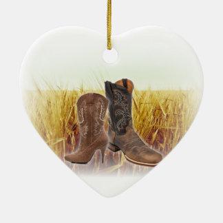Ornement Cœur En Céramique Bottes de cowboy de pays occidental de champ de