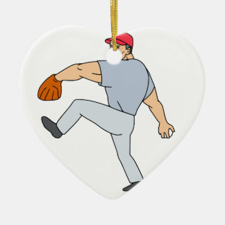 Ornement Cœur En Céramique Broc de joueur de baseball prêt à jeter la boule