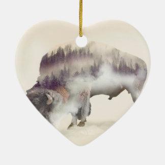 Ornement Cœur En Céramique Buffle-double buffle-paysage exposition-américain