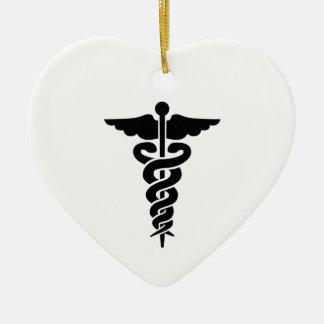 Ornement Cœur En Céramique Caducée médical de symbole
