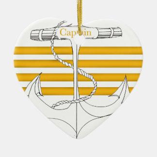 Ornement Cœur En Céramique capitaine d'or, fernandes élégants