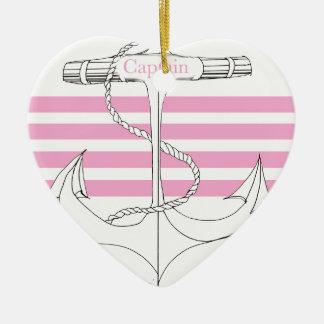 Ornement Cœur En Céramique capitaine rose, fernandes élégants
