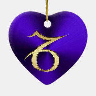 Ornement Cœur En Céramique Capricorne de signe de zodiaque sur l'ornement