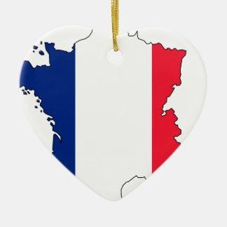Ornement Cœur En Céramique Carte #2 de drapeau de la France