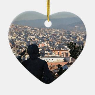 Ornement Cœur En Céramique Carte postale de Barcelone