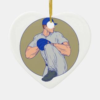 Ornement Cœur En Céramique Cercle américain Drawin de boule de jet de broc de