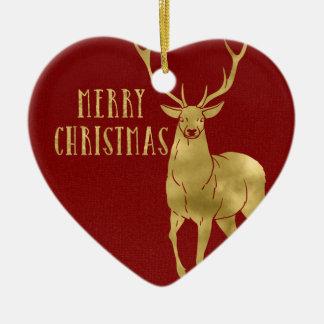 Ornement Cœur En Céramique Cerfs communs et photo de Joyeux Noël
