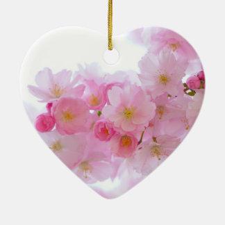 Ornement Cœur En Céramique Cerise du Japon Sakura