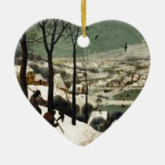 Ornement Cœur En Céramique Chasseurs dans la peinture d'hiver