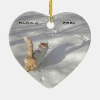Ornement Cœur En Céramique chat dans la neige