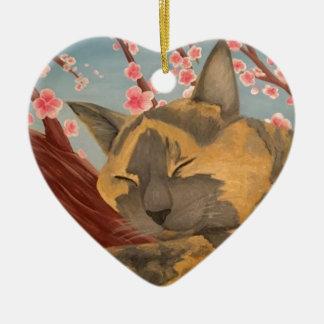 Ornement Cœur En Céramique Chat de sommeil de fleurs de cerisier