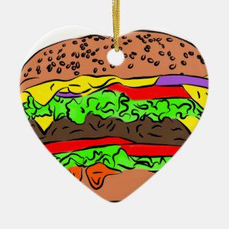 Ornement Cœur En Céramique Cheeseburger
