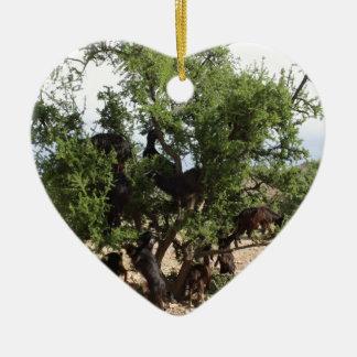 Ornement Cœur En Céramique Chèvres dans les arbres - arbres d'argan, Maroc