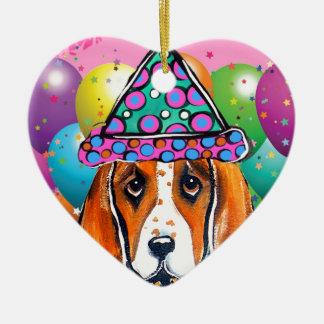 Ornement Cœur En Céramique Chien de partie de chien de basset-hound