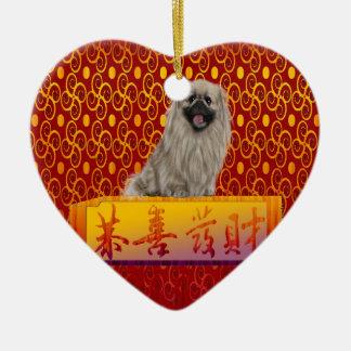 Ornement Cœur En Céramique Chien de Pekingese la nouvelle année chinoise