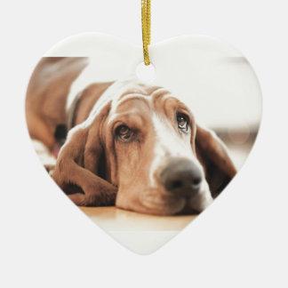 Ornement Cœur En Céramique Chiot de chien de basset-hound