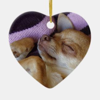 Ornement Cœur En Céramique Chiwawa de sommeil