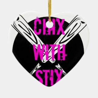 Ornement Cœur En Céramique Chix avec Stix