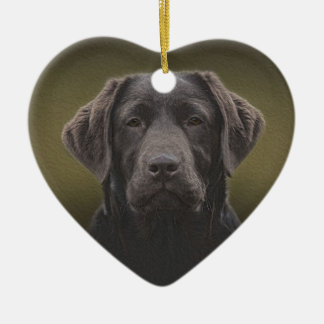 Ornement Cœur En Céramique Chocolat Labrador