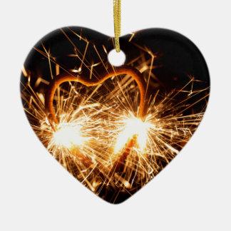 Ornement Cœur En Céramique Cierge magique brûlant sous la forme d'un coeur