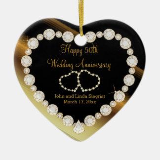 Ornement Cœur En Céramique cinquantième Anniversaire de mariage d'or de photo