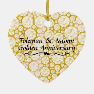 Ornement Cœur En Céramique cinquantième Diamants d'anniversaire de mariage |