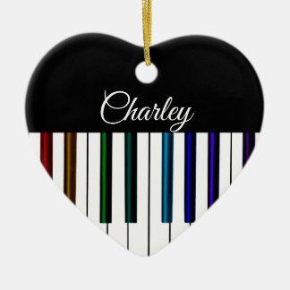 Ornement Cœur En Céramique Coeur coloré de vacances de musique de clavier de