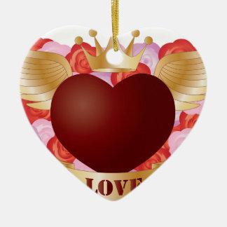 Ornement Cœur En Céramique Coeur de vol avec la bannière et les roses