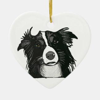Ornement Cœur En Céramique Coeur en céramique noir et blanc de border collie