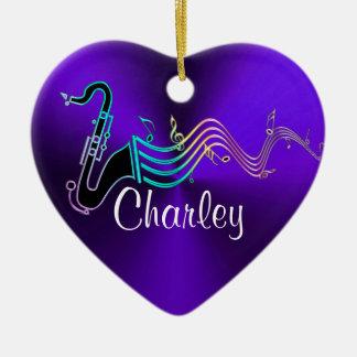 Ornement Cœur En Céramique Coeur pourpre personnalisé de vacances de musique