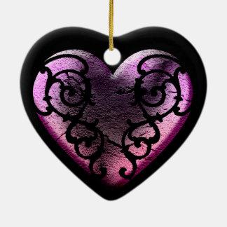 Ornement Cœur En Céramique Coeur rose en filigrane de Goth