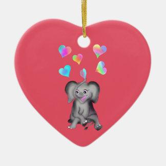 Ornement Cœur En Céramique Coeurs d'éléphant par Happy Juul Company
