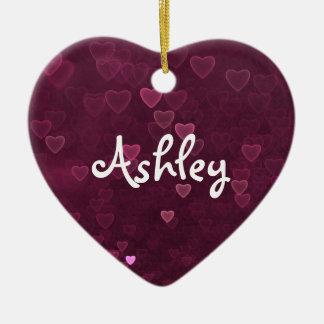 Ornement Cœur En Céramique Coeurs roses personnalisés de Bokeh