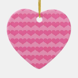 Ornement Cœur En Céramique Coeurs roses sur l'ornement rose