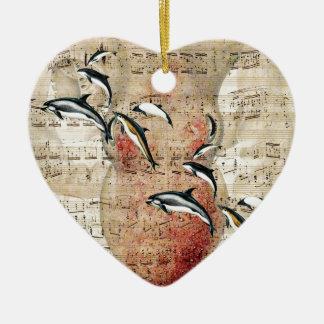Ornement Cœur En Céramique Collage de dauphins de poulpe