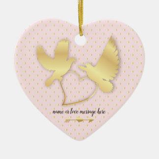 Ornement Cœur En Céramique Colombes d'or avec un coeur d'or, amour doux