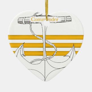 Ornement Cœur En Céramique commandant d'or, fernandes élégants