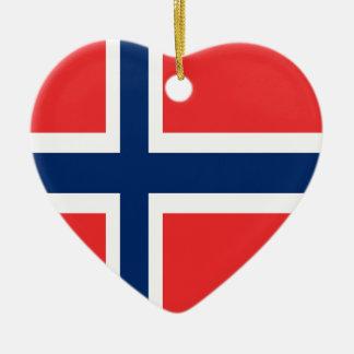 Ornement Cœur En Céramique Conception de drapeau de la Norvège sur le produit